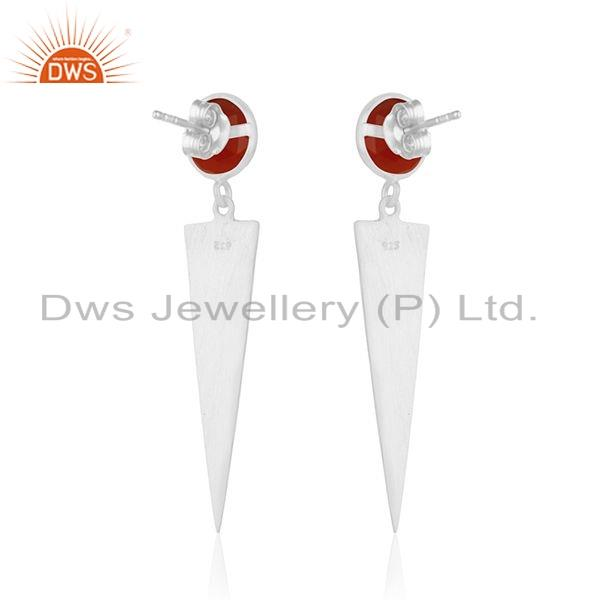 Suppliers Indian 925 Silver Red Onxy Gemstone Womens Fashion Earrings Jewelry