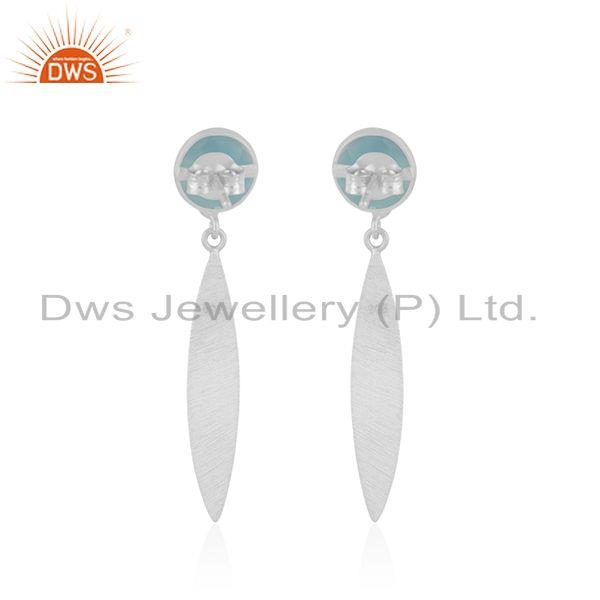 Suppliers Aqua Chalcedony Gemstone 925 Sterling Silver Dangle Earring Manufacturer India