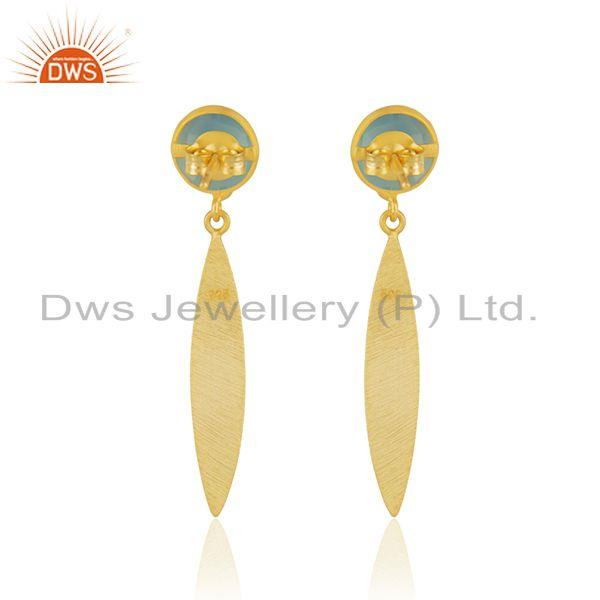 Suppliers Handmade Sterling Silver Yellow Gold Plated Aqua Chalcedony Gemstone Earrings