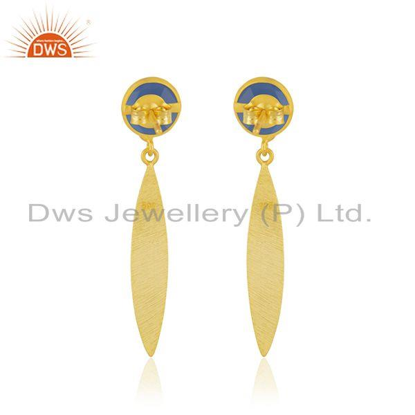 Suppliers Blue Chalcedony Gemstone Gold Plated 925 Silver Dangle Earring Manufacturer