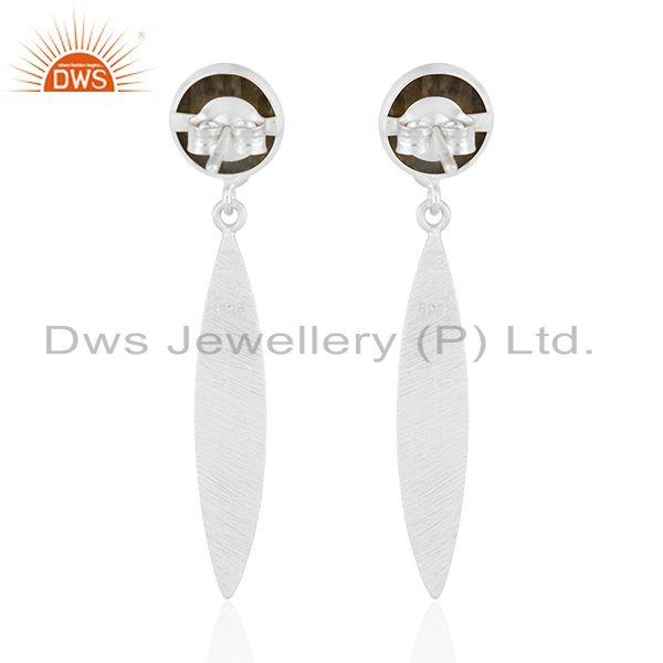 Suppliers Girls Fine Silver Labradorite Gemstone Designer Earrings Jewelry Manufacturer