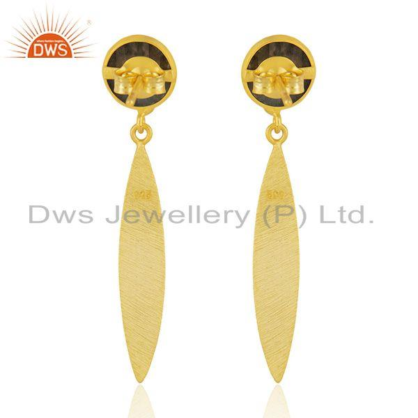 Suppliers Natural Labradorite Yellow Gold Plated Silver Earrings Gemstone Jewelry