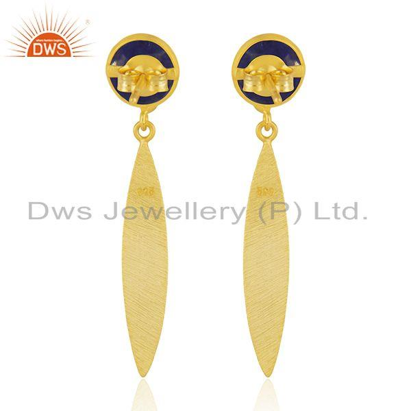 Suppliers Handmade Gold Plated Silver Lapis Gemstone Designer Earrings Jewelry Supplier