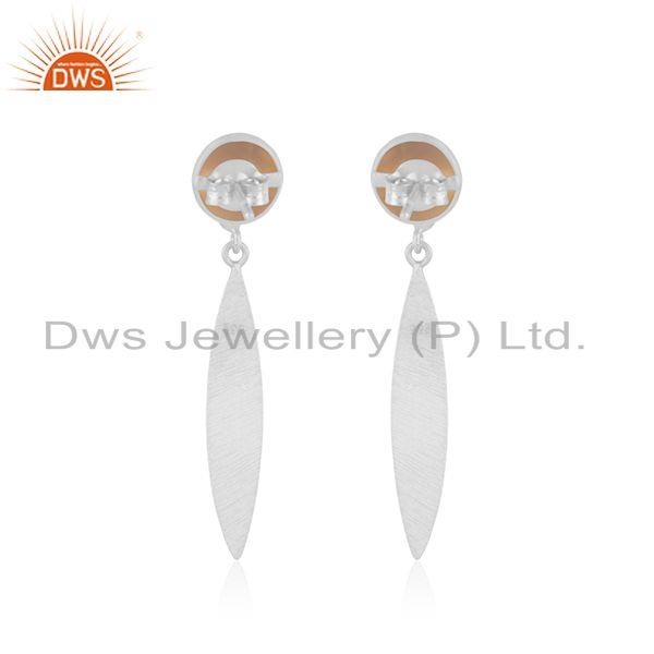 Suppliers Rose Chalcedony Gemstone 925 Sterling Silver Earrings Manufacturer INdia