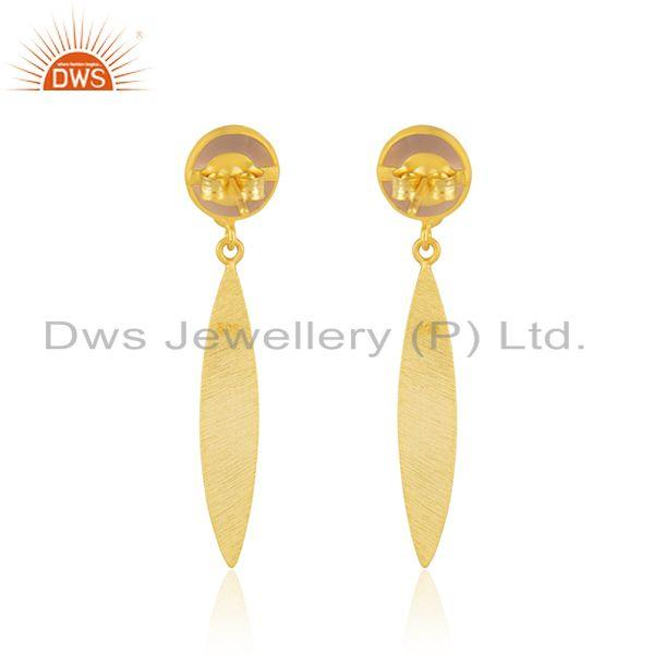 Suppliers Rose Chalcedony Gemstone 925 Silver GOld Plated Earrings Manufacturer India