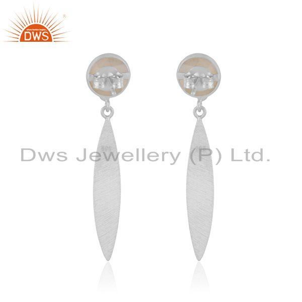 Suppliers Rainbow Moonstone Handmade 925 Sterling Silver Earrings Wholesaler