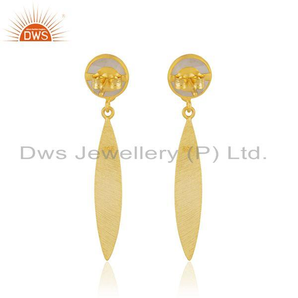 Suppliers Rainbow Moonstone 925 Sterling Silver Gold Plated Earring Jewelry Manufacturer