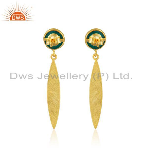 Suppliers Yellow Gold Plated Silver Green Onyx Gemstone Earrings Jewelry