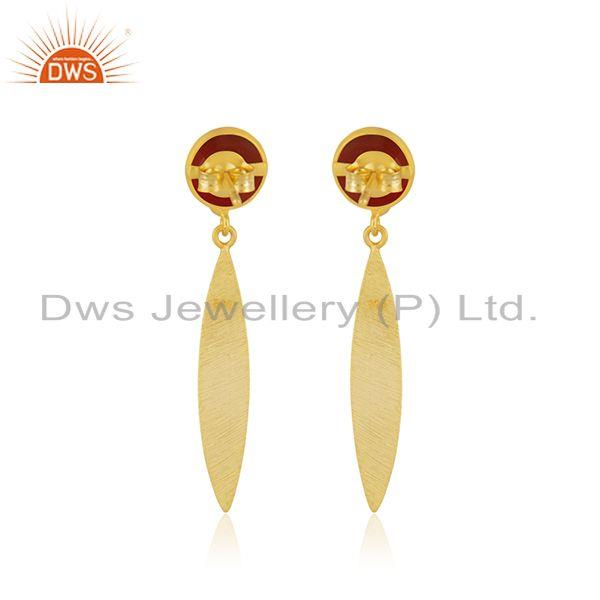 Suppliers Red Onyx Gemstone Gold Plated 925 Silver Handmade Earrings Jewelry Manufacturer
