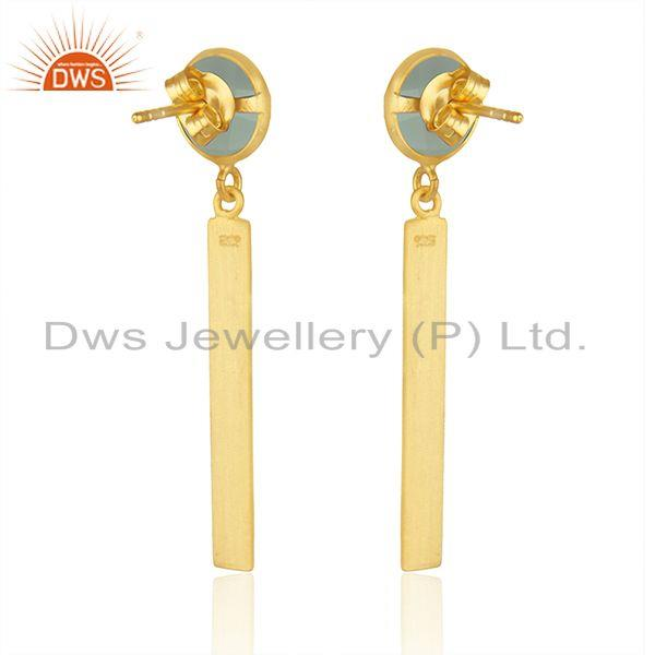 Suppliers Yellow Gold Plated Silver Aqua Chalcedony Gemstone Earrings Jewelry Supplier