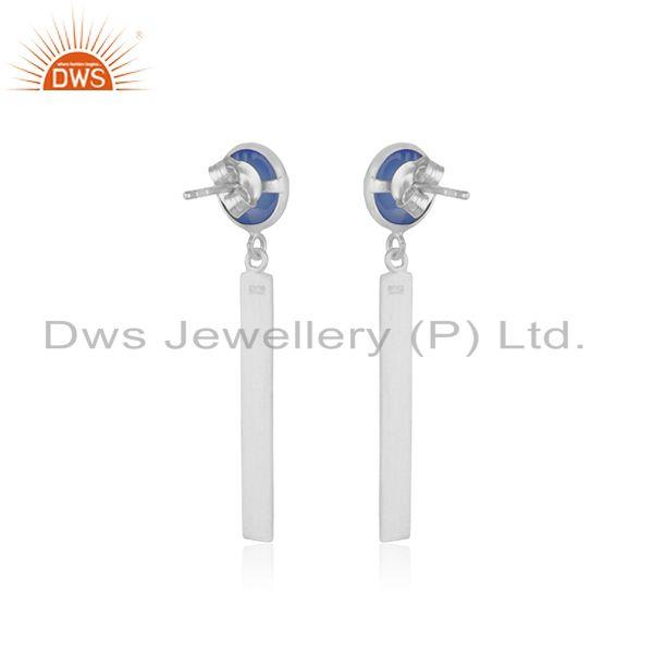 Suppliers 925 Fine Sterling Silver Bar Blue Chalcedony Gemstone Earring Wholesale