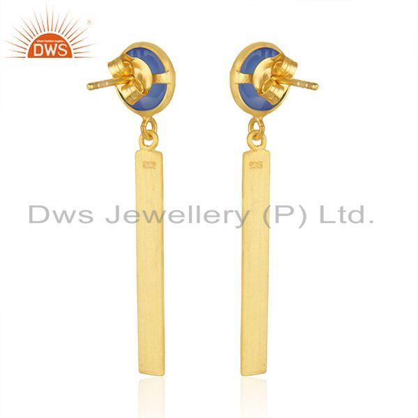Suppliers Natural Blue Chalcedony Gold Plated Silver Earrings Jewelry Wholesale