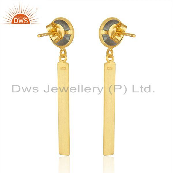Suppliers Manufacturer of Designer Gold Plated Silver Labradorite Earrings Jewelry