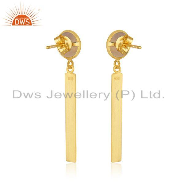 Suppliers Rose Chalcedony Gemstone 925 Silver Gold Plated Bar Earring Manufacturer India
