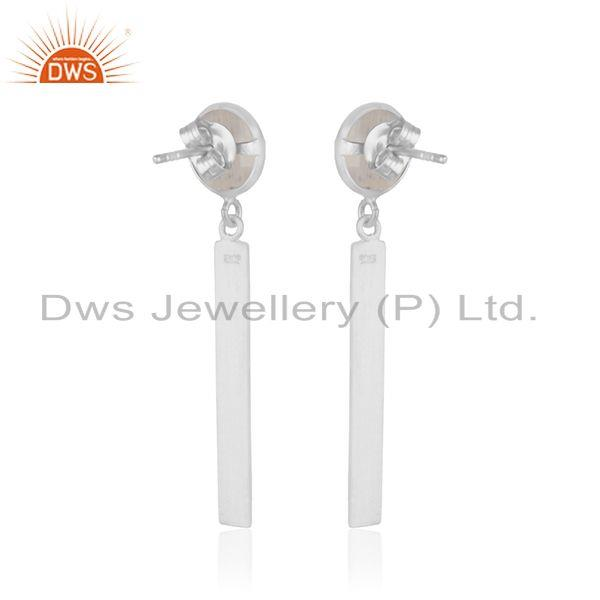 Suppliers Rainbow Moonstone Fine Sterling Silver Bar Earring Manufacturer in Jaipur