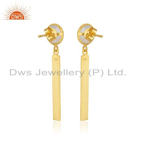 Suppliers Rainbow Moonstone Yellow Gold Plated Sterling Silver Earrings Supplier