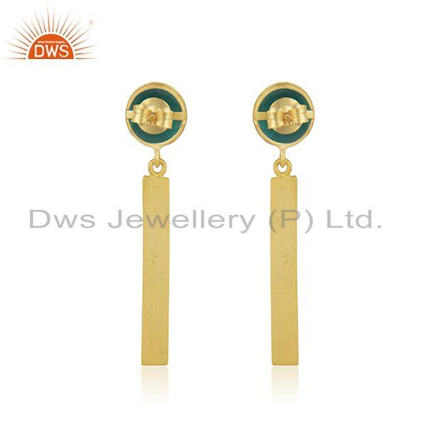 Suppliers Natural Green Onyx Gemstone Silver Earrings Jewelry Manufacturer
