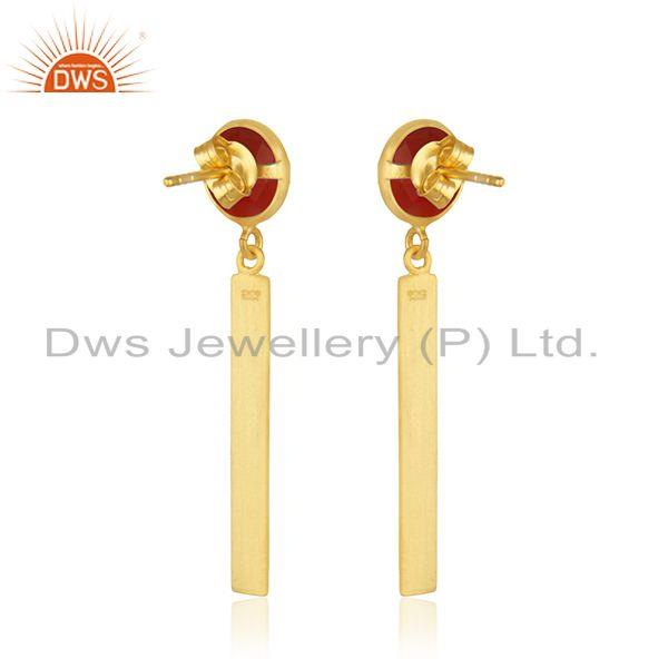 Suppliers Yellow Gold Plated Sterling Silver Red Onyx Gemstone Bar Earring Manufacturer
