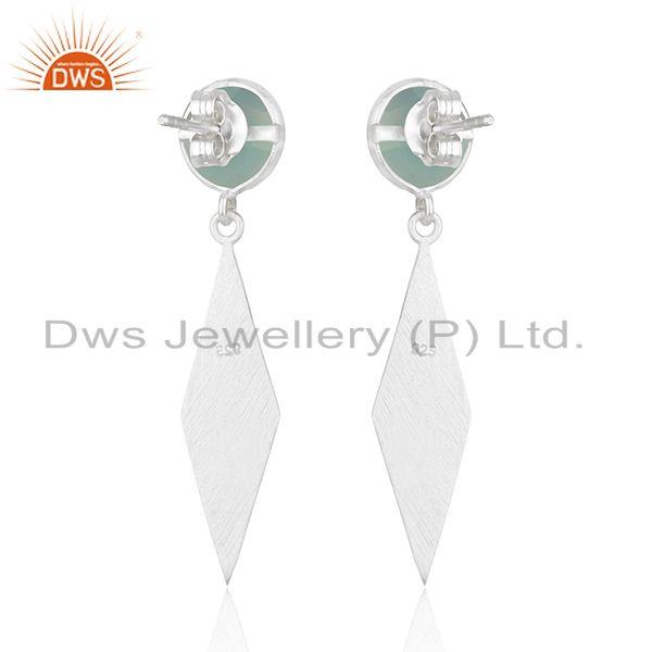 Suppliers Indian Sterling Fine SIlver Aqua Chalcedony Earrings Jewelry Manufacturer