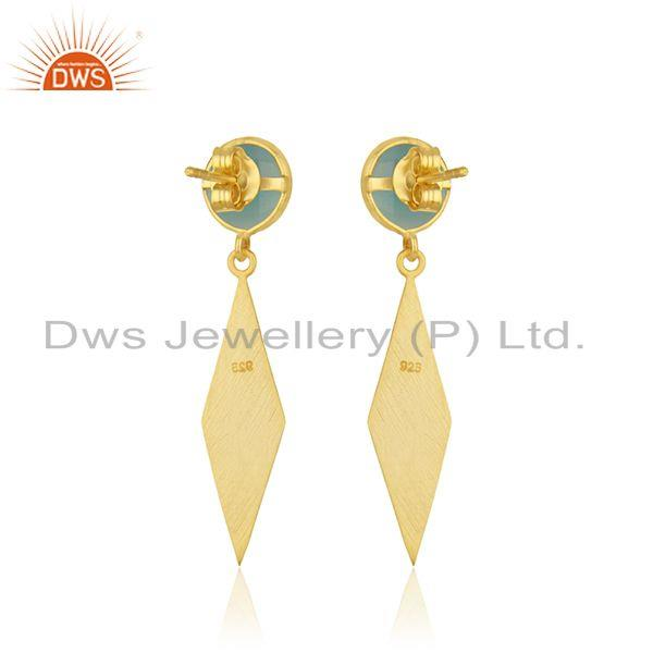 Suppliers Aqua Chalcedony Gemstone Handmade Gold Plated Silver Earring Manufacturer