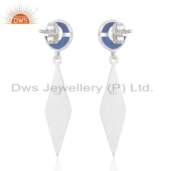 Suppliers Blue Chalcedony Designer Fine Silver Gemstone Earrings Jewelry Supplier