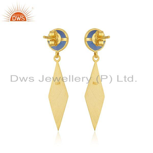 Suppliers Blue Chalcedony Gemstone 925 Sterling Silver Gold Plated Earrings Manufacturer
