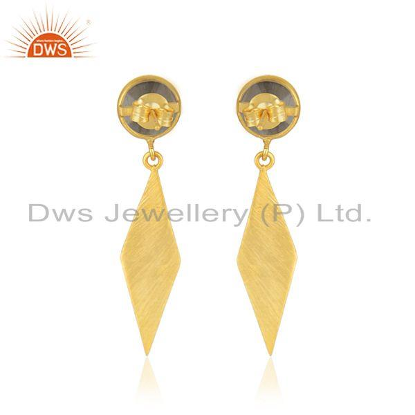 Suppliers Gold Plated 925 Silver Labradorite Gemstone Earring Manufacturer in Jaipur India