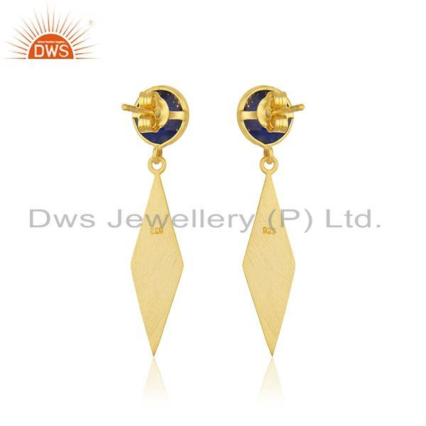 Suppliers Lapis Lazuli Gemstone Yellow Gold Plated Dangle Earrings Manufacturer INdia