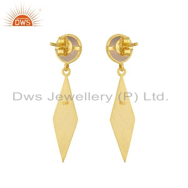 Suppliers 14k Yellow GOld Plated 925 Silver Rose Chalcedony Gemstone Earrings Manufacturer