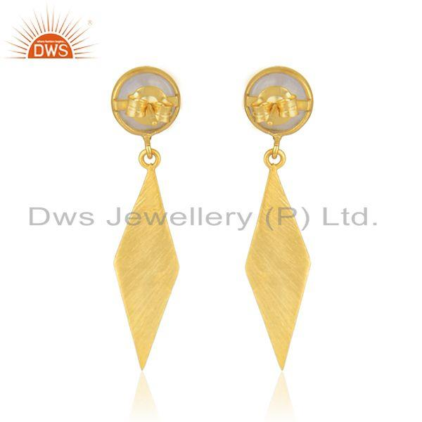 Suppliers Rainbow Moonstone Wholesale Designer Gold Plated Silver Earrings Supplier