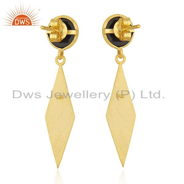 Suppliers New BLack Onyx Gemstone Silver Gold Plated Earrings Jewelry