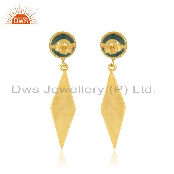 Suppliers 18k Yellow Gold Plated 925 Silver Green Onyx Gemstone Earring Manufacturer