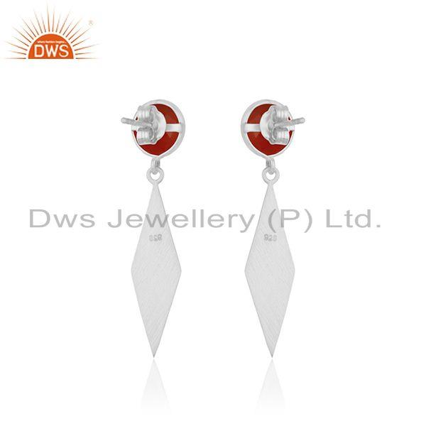 Suppliers Red Onyx Gemstone 925 Sterling Silver Handmade Earrings Manufacturer INdia