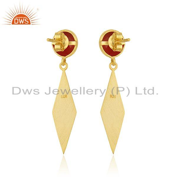 Suppliers Yellow Gold Plated Sterling Silver Red Onyx Gemstone Earrings Manufacturer India
