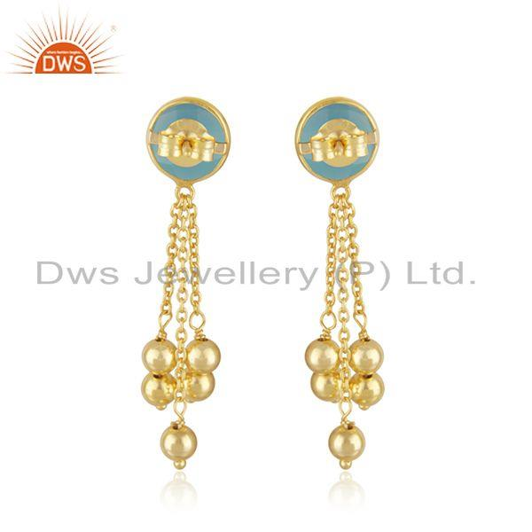 Suppliers New arrival Gold Plated Silver Aqua Chalcedony Gemstone Earrings Jewelry