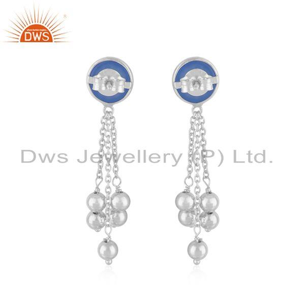 Suppliers Manufacturer Fine Silver Blue Chalcedony Gemstone Earrings For Womens