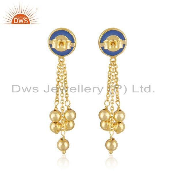 Suppliers Designer Gold Plated 925 Silver Blue Chalcedony Earrings Jewelry Manufacturer