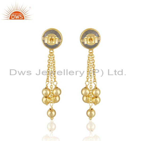 Suppliers New Arrival Gold Plated 925 Silver Labradorite Gemstone Earrings Jewelry