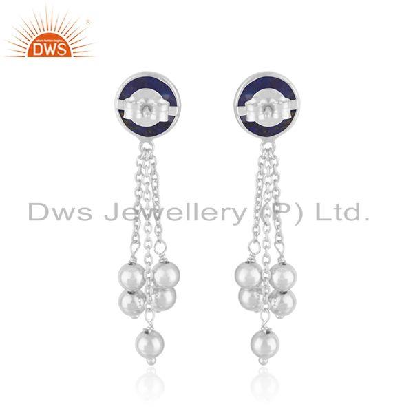 Suppliers Indian 925 Fine Silver Natural Lapis Gemstone Chain Designer Earrings