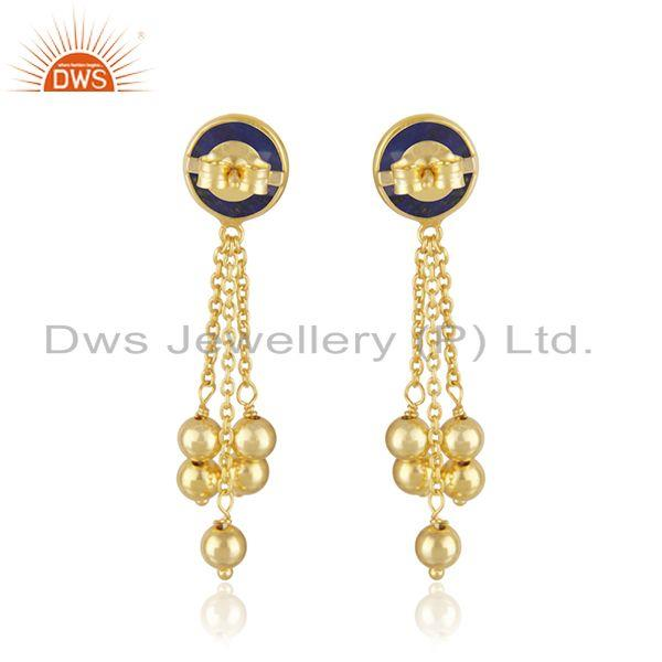 Suppliers Natural Lapis Gemstone Gold Plated Silver Chain Earrings Jewelry Supplier