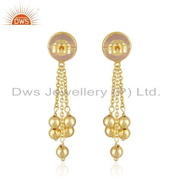 Suppliers Rose Chalcedony Gemstone Silver Gold Plated Silver Chain Earrings Jewelry
