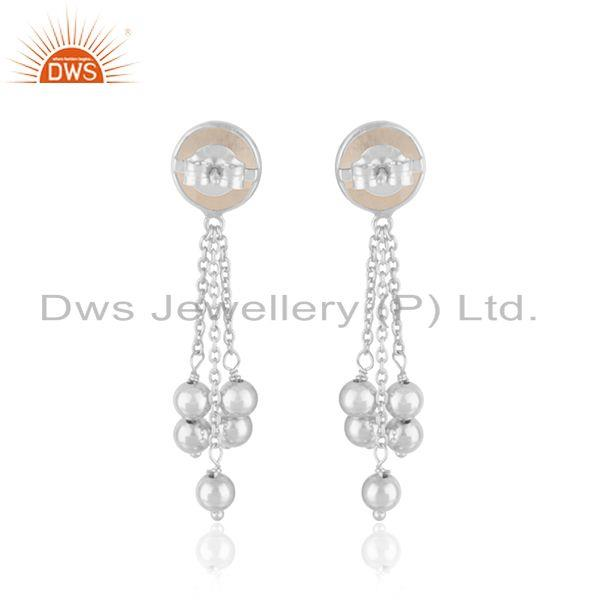 Suppliers Rainbow Moonstone Fine Sterling Silver Chain Earring Manufacturer In India
