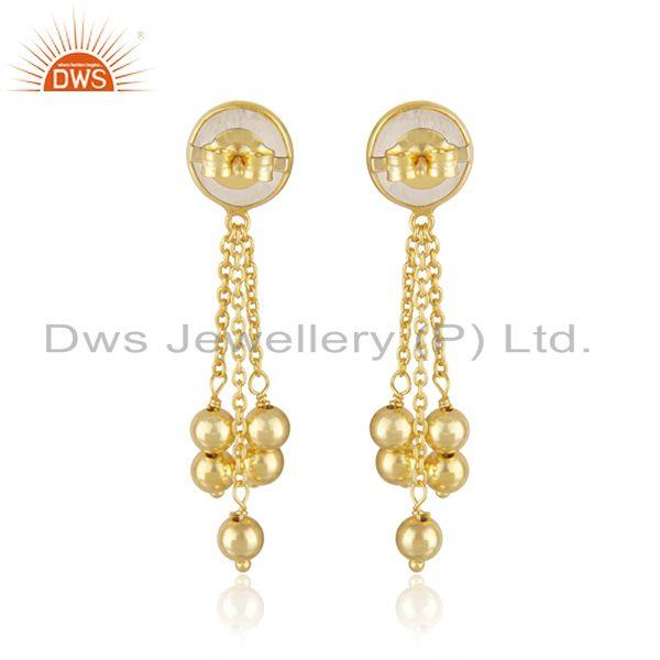 Suppliers Rainbow Moonstone Gold Plated 925 SIlver Chain Earring Jewelry