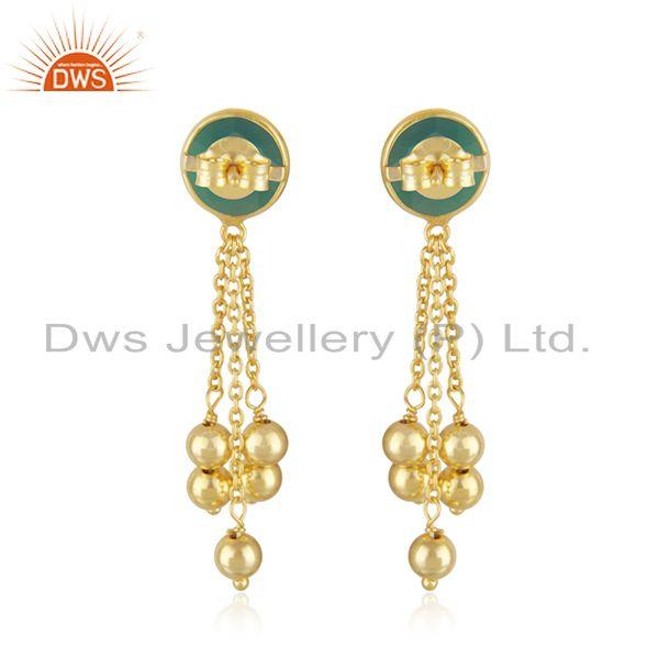 Suppliers Designer 925 SIlver Gold Plated Earring Green Onyx Gemstone Jewelry