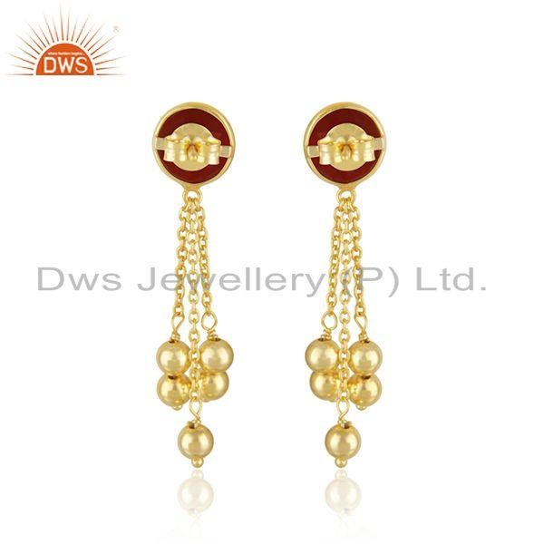 Suppliers Yellow Gold Plated 925 Silver Red Onyx Gemstone Girls Earring Manufacturer