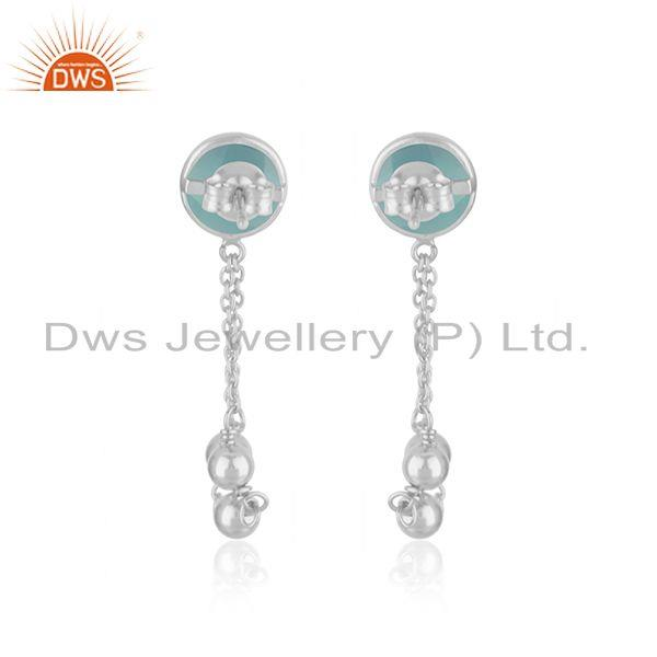 Suppliers Aqua Chalcedony Gemstone Fine Sterling 92.5 Silver Chain Earring Manufacturer