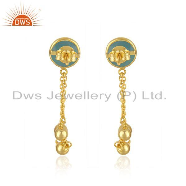Suppliers Aqua Chalcedony Gemstone 925 Silver Gold Plated Chain Earring Manufacturer India
