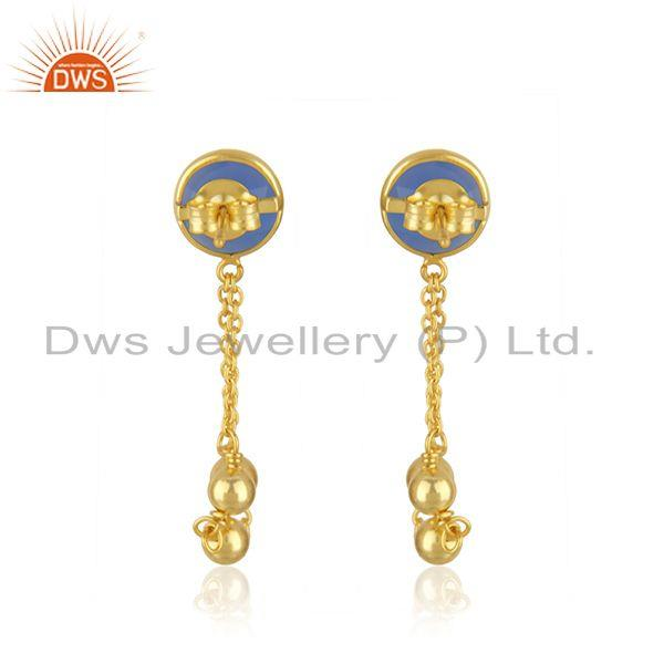 Suppliers Designer Gold Plated Silver Blue Chalcedony Gemstone Earrings