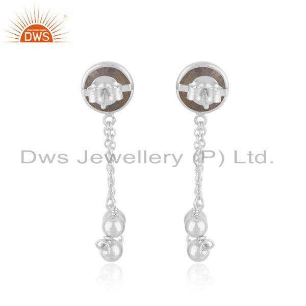 Suppliers New Sterling Fine SIlver Natural Labradorite Gemstone Earring Jewelry