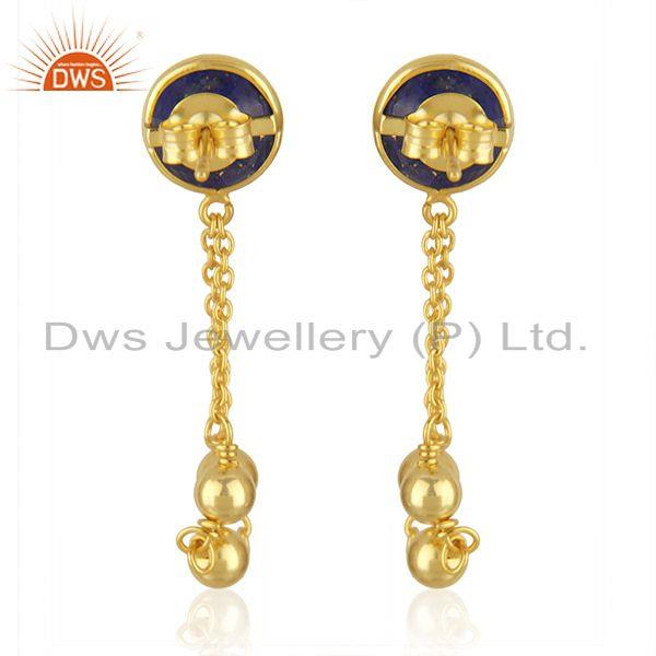 Suppliers Natural Lapis Stone Designer Gold Plated Silver Chain Designer Earrings